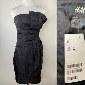 NWT H&M Black Shimmer Strapless Mini Dress Size 6